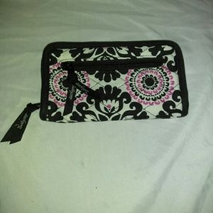 Thirty One Black/White Floral Zip Up Wallet